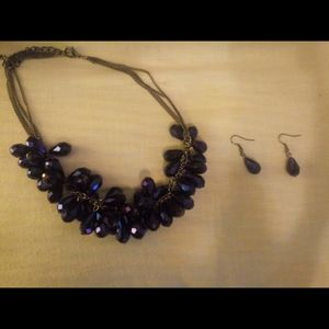 Jewelry - Purplish blue necklace and earrings